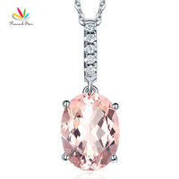 Peacock Star 14K White Gold Light Pink 4 1 Ct Oval Morganite Pendant Necklace 0 1