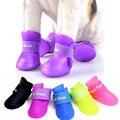 New 2016 1Set 4Pcs Soft Waterproof Dog Boots Protective PVC Pet Rain Shoes Booties S M L