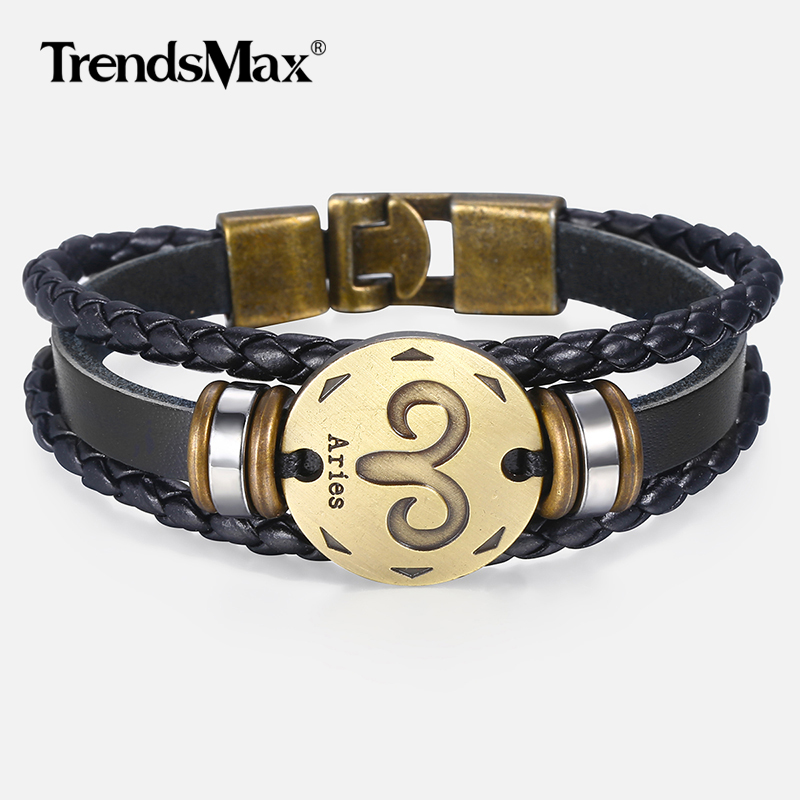 12 Horoscope Men's Leather Bracelet Vintage Retro Charm Male Bracelets Jewelry Gifts Leo Cancer Aries Zodiac Sign KLBM136A