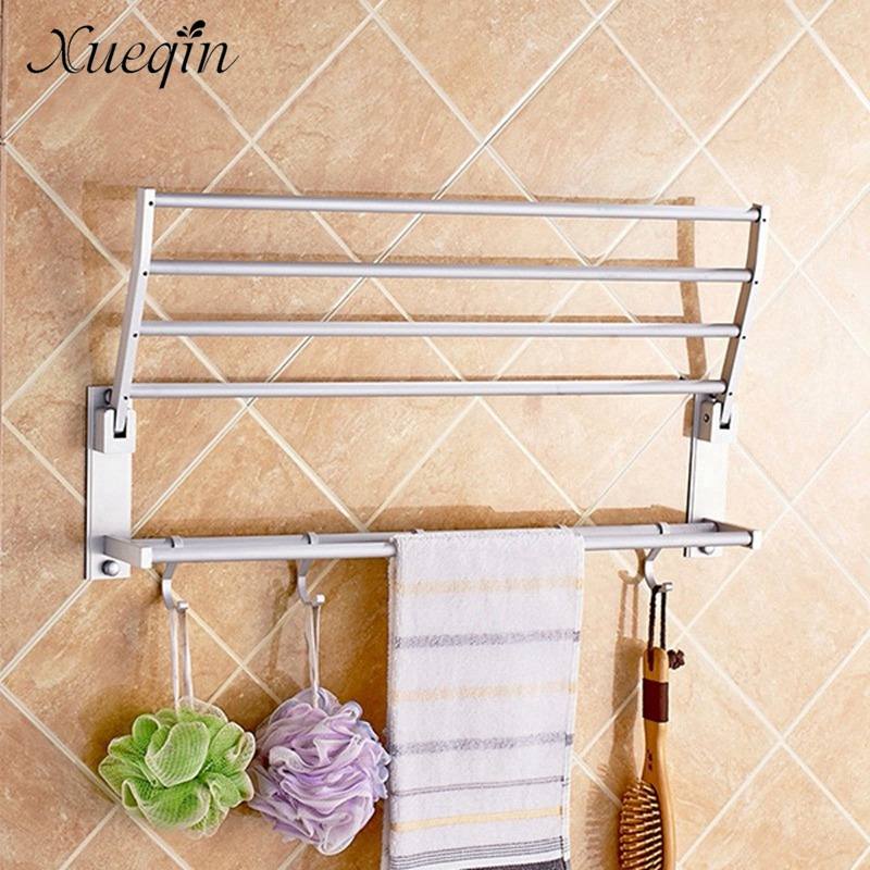 Alumimum Foldable Bathroom Towel Rack Holder 2 Layer Wall Mounted Storage Hanger Kitchen Hotel Towel Clothes Shelf With 5 Hooks