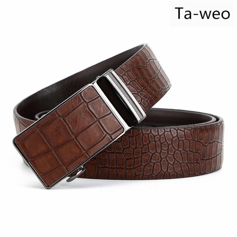 Fashion Men Waist Belt, Designer Crocodile Pattern Men Belt High Quality, Automatic Buckle Leather Belt For Men
