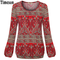 Timeson Women S Spring Autumn Long Sleeve Blouse For Female Bohemian Plant Floral Print Leisure T