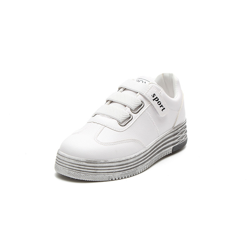 Wipe The Old White Shoe For Women Flat Leather Female Thick Shoes Woman Vogue Skateboarding Shoes Hook Loop Sportshoe