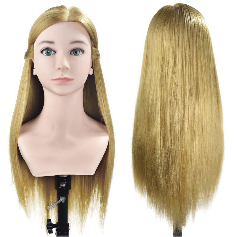 Livraison Gratuite 70 cm Formation Tête Avec Épaule Haute Qualité De Coiffure Tête Factice Nice Manequim Blonde Cheveux Longs Mannequin Tête