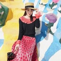 2017 Fashion Designer Women Knitted Sweaters Jumper HIGH QUALITY Long Sleeve O Neck Pink Ruffles Diamond