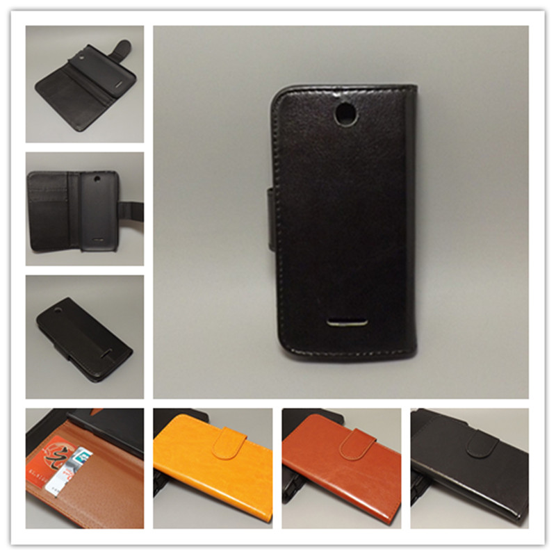 Crazy horse wallet case hold two Cards with 2 Card Holder and pouch slot for Nokia 225 Dual SIM225