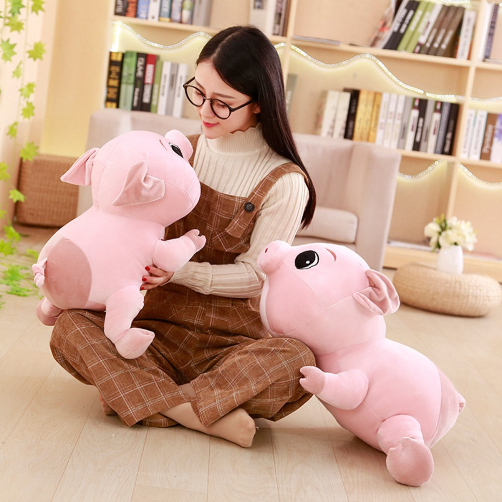 30/40/50/60cm Cute Piggy Plush Toy Soft Stuffed Cartoon Animal Big Eyes Pig Doll Baby Accompany Nap Pillow Kids Christmas Gifts
