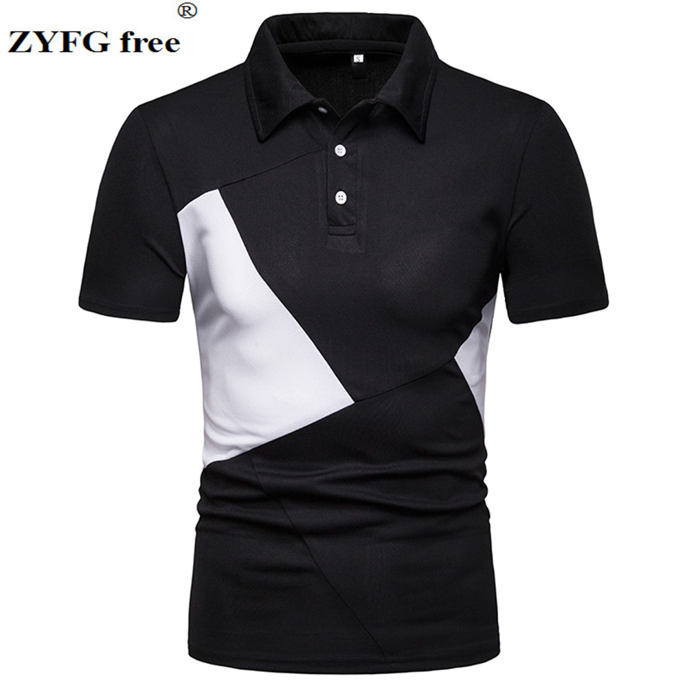 Image 4 - ZYFG free men polo casual splice contrast color short sleeved polo shirt Slim fashion spring and summer male clothing-in Polo from Men's Clothing
