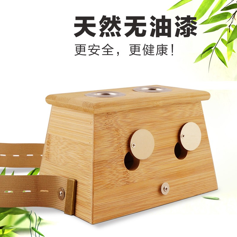 Bamboo Moxibustion Box Moxa Roll Stick Holder Case 2-hole Massage Device Tool Moxibustion Treatment Therapy For Arm Leg Abdomen yookie yk610 green