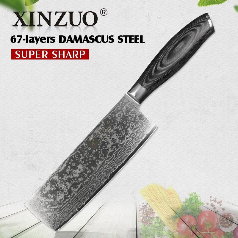 XINZUO 6.8 ''بوصة Nakiri سكاكين المطبخ 67 طبقة اليابانية VG10 سكين دمشق الصلب الشيف كوك سكين التقطيع Pakka الخشب مقبض-في سكاكين مطبخ من المنزل والحديقة على  مجموعة 1