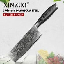 XINZUO 6.8 inç Nakiri mutfak bıçakları 67 katmanlı japon VG10 şam çeliği bıçak şef aşçı dilimleme bıçağı Pakka ahşap kolu