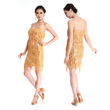 Drop Shipping Tango Dress Sexy Elegant Women Latin Dance Dress Fringed Tassel Sequins Clubwear Mini Dress