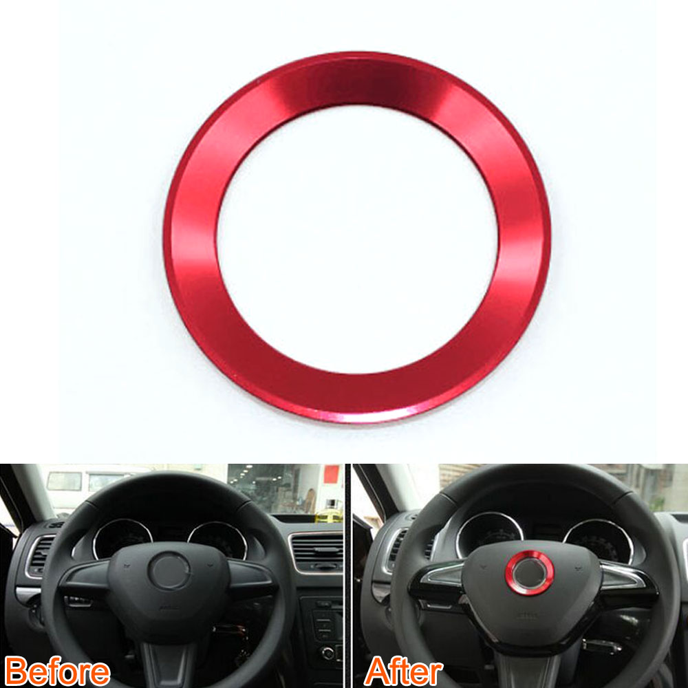 Car Styling 1Pc Car Interior Decorative Steering Wheel Central Ring Cover Trim Fit For Skoda Superb octavia Rapid Spaceback Yeti