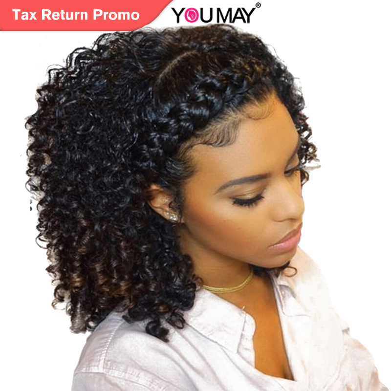 Kinky Curly Wig 360 Lace Frontal Wigs Pre Plucked With