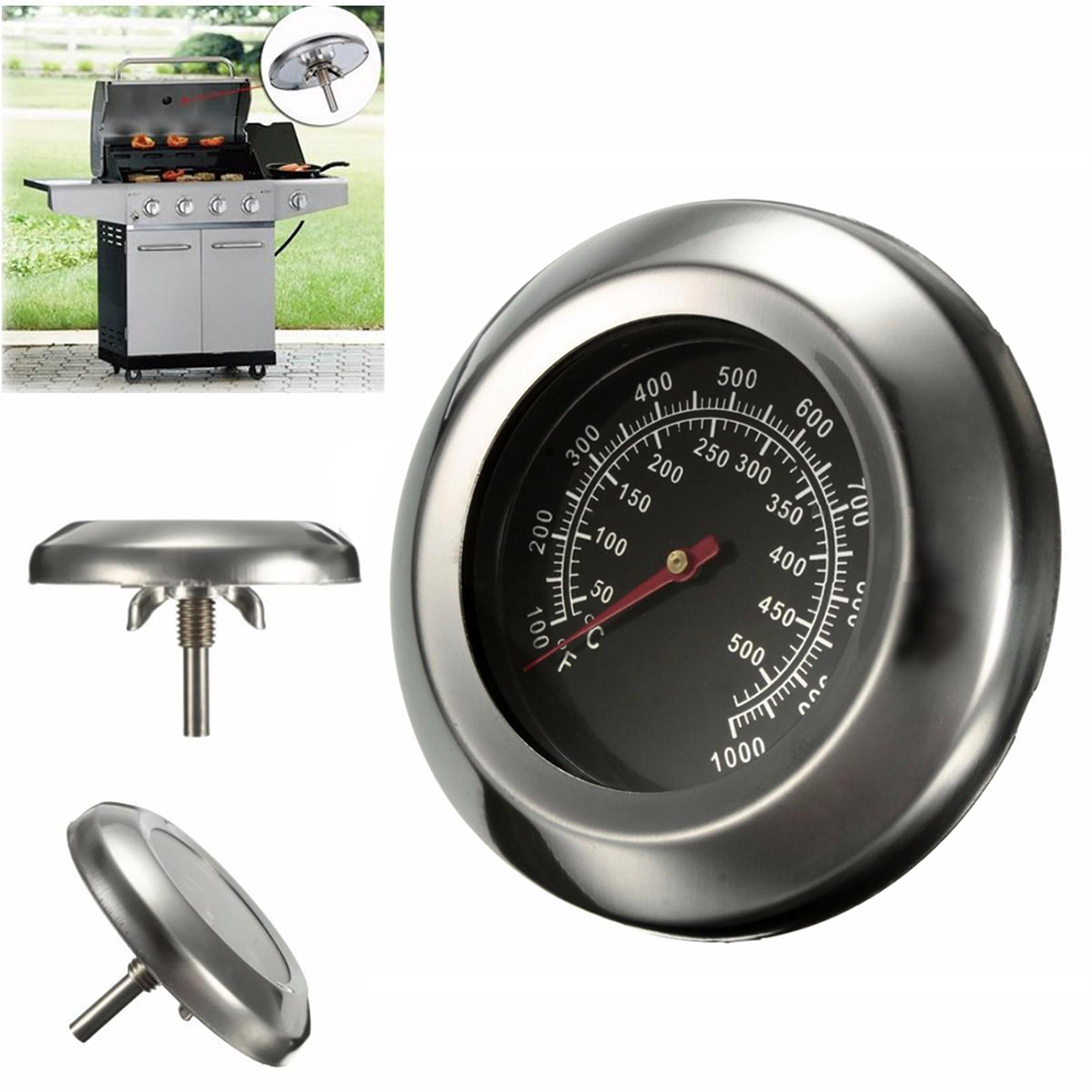 Dia 3 Degrees Celsius/Fahrenheit 50~500Degrees Celsius Roast Barbecue BBQ Pit Smoker Grill Thermometer Temp Gauge