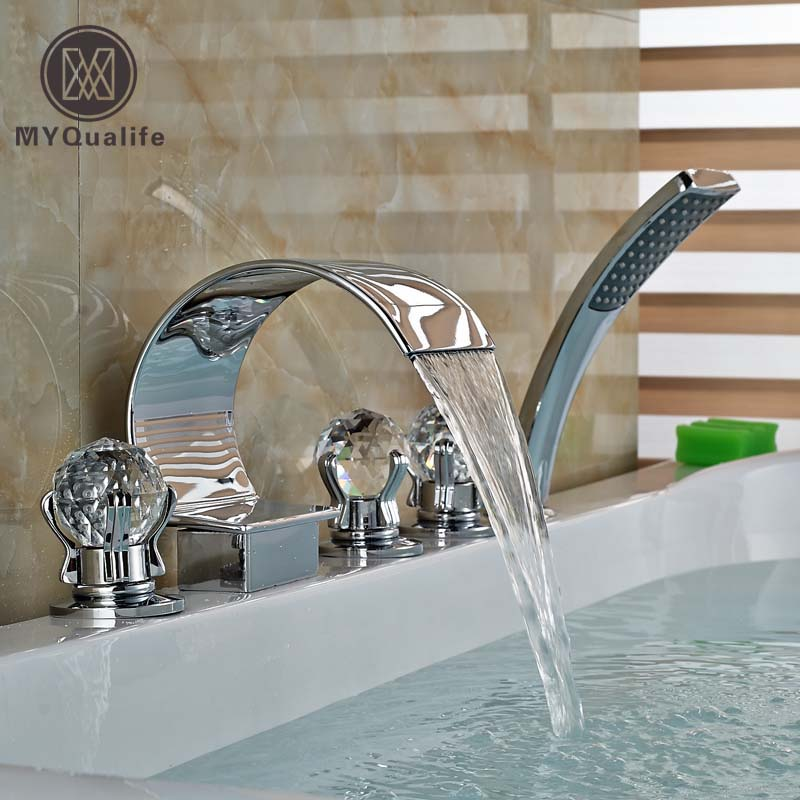 Deck Mount Widespread Waterfall Spout Brass Chrome Bathtub Faucet with Handheld Shower chrome finish brass kitchen faucet with flexible spout wall mount