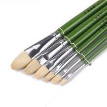6pcs/Set,Direct manufacturers pig bristle artist oil painting brushes Tongue peak painting brush Set Drawing Art Supplies