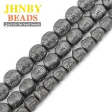 JHNBY Matte Lion Buddha Maitreya head Black Hematite beads Natural Stone Loose for Jewelry bracelets Making DIY Findings