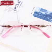 Chashma Titanium Rimless Eyewear Diamonds M8 Lenses Top Quality Pink Read Glasses Fashion Women Pink Tint Lenses Reading Glasses