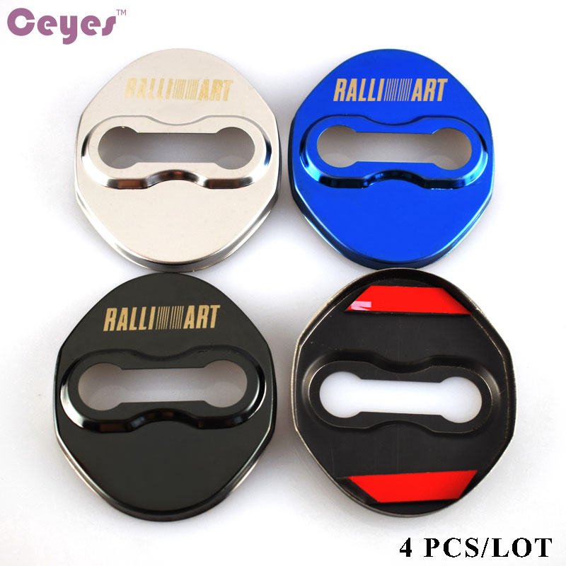 Ceyes Car Styling Door Lock Decoration Protection Cover Case For Mitsubishi RalliArt Lancer 10 Ralli Art Outlander Car-Styling