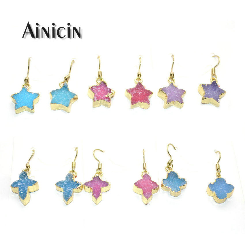 1 Pair Natural Druzy Crystal Stone Star Cross Clover Hook Earrings Gold Plating Fashion Women Dangle Earring