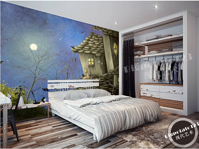 The custom 3D murals,dream aesthetic abstract house fairy tale painting, living room sofa TV wall bedroom background wall paper the latest 3d murals dream of the sun exposure forest trees stone waterfall scenery living room tv sofa bedroom wall paper