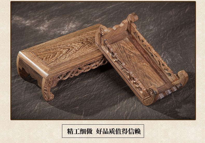Crafts decoration stone teapot base carved cutout round toe rectangular table piano desk mahogany base