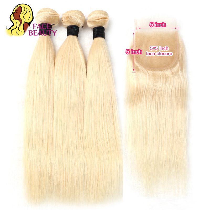 Facebeauty 1B 613 Ombre Blonde Weave Weft 8 28 Inch Remy Brazilian Straight Human Hair 2