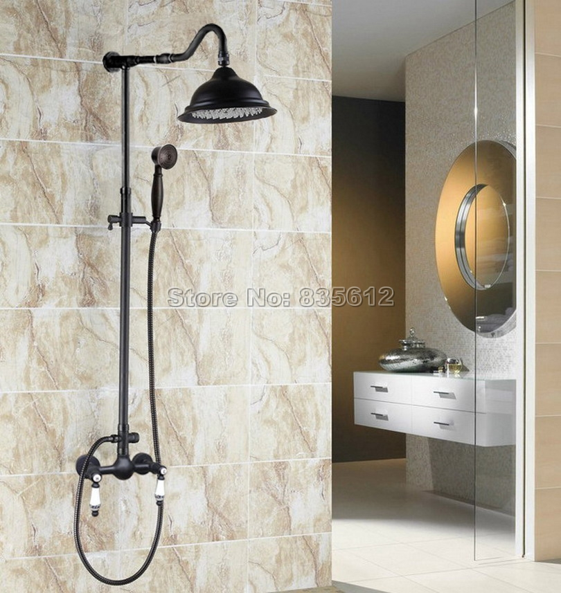 Wall Mounted Black Oil Rubbed Bronze Bathroom Ceramic Handles Rain Shower Faucet Set with Handheld Shower Mixer tap Wrs811