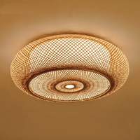 Hand woven Ceiling lamp Bamboo Wicker Rattan Round Lantern Ceiling Lights Asian Japanese Plafon Lamp Bedroom Living Room Fixture
