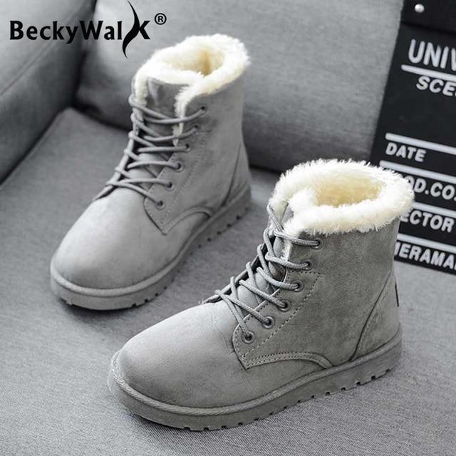 Kadın Çizmeler Sıcak Kış Kadın Ayakkabı Artı Boyutu Kadın Sahte Süet Kadın Için bileğe kadar bot Botas Mujer Peluş Bayanlar Kar Botları WSH3132