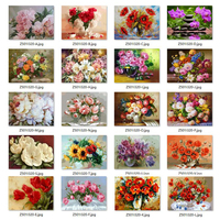 5D Diy Diamond Painting Cross Stitch Red Floral Vase Crystal Needlework Diamond Embroidery Flower Full Square