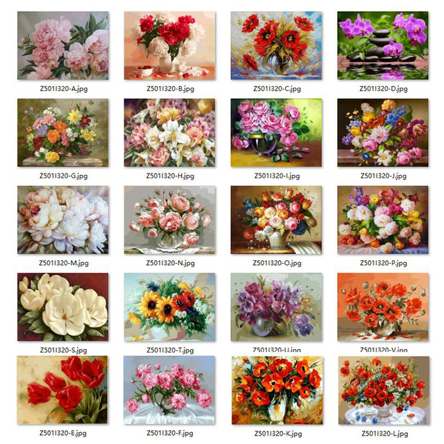 5D Diy Diamond Painting Cross Stitch Red Floral Vase Crystal Needlework Diamond Embroidery Flower Full Square Diamond Decorative