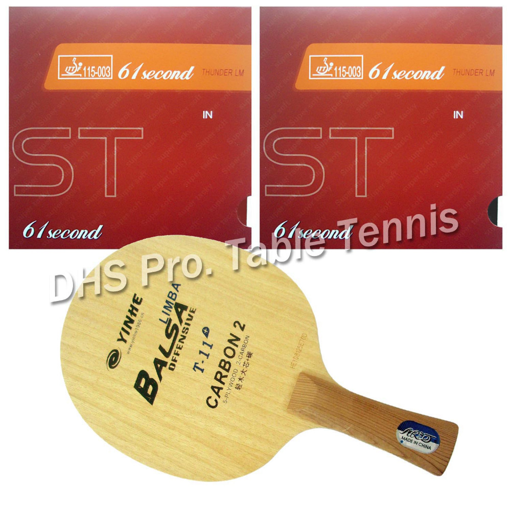 Pro Table Tennis Combo Paddle Racket Galaxy YINHE T-11+ Blade with 2x 61second LM ST Rubbers Shakehand long handle FL hrt 2091 blade with galaxy yinhe 9000e dawei 388a 4 rubbers for a table tennis combo racket fl