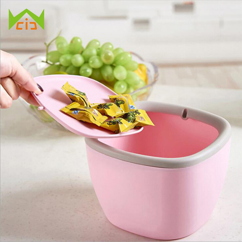 WCIC Waste Bins Trash Rubbish Garbage Can Standing Rolling Cover Type Car Garbage Can Car Trash Bin Detachable Dust Case