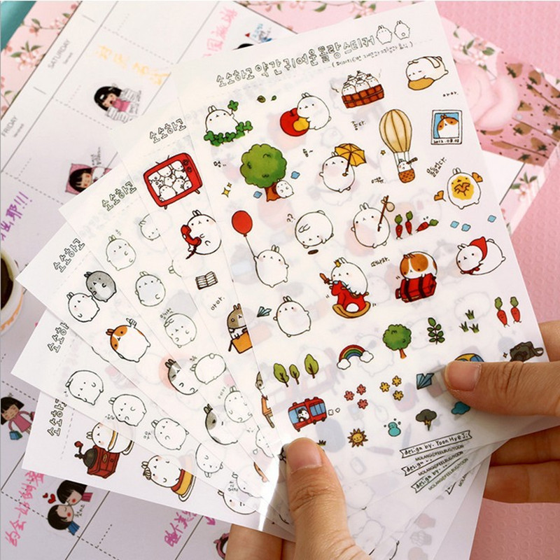 New Cute Lovely Rabbit 6 Sheet Paper Stickers For Diary Scrapbook Book Decoration Diy Personalized Photo