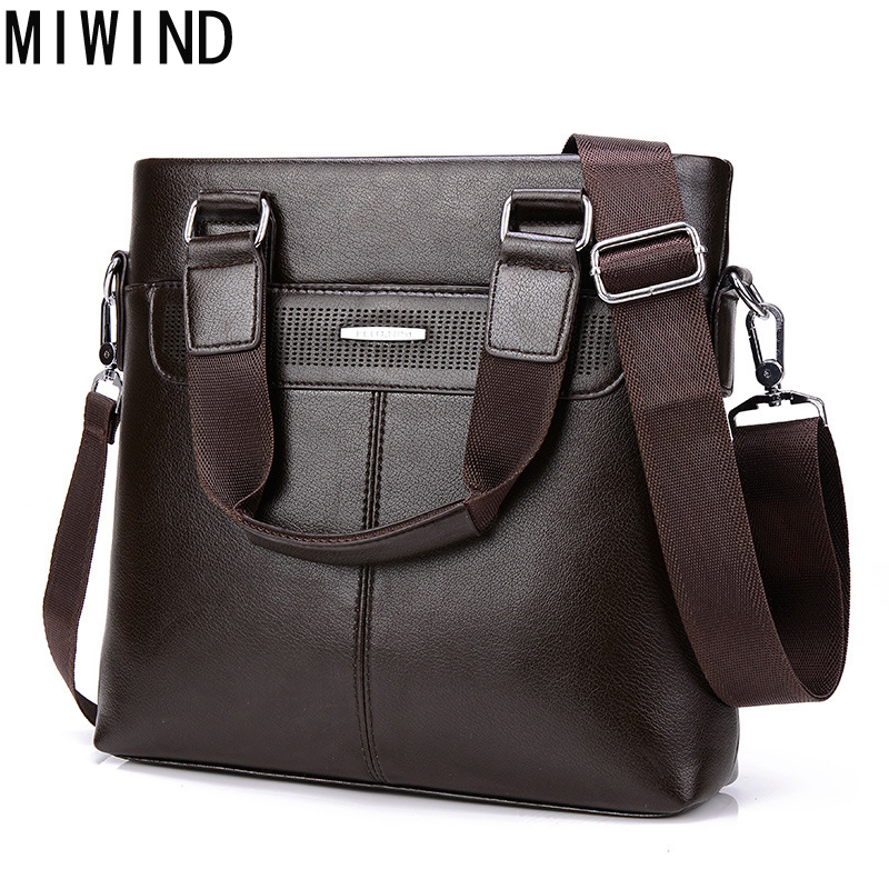 MIWIND Bag Men Casual Business PU Leather Messenger Bags Man Casual Crossbody Shoulder Handbag TAP098