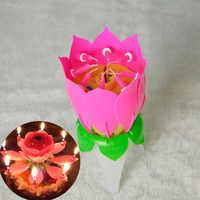Música cumpleaños vela de loto luz de la noche de Navidad luz romántica torta de cumpleaños fiesta decorativa con música