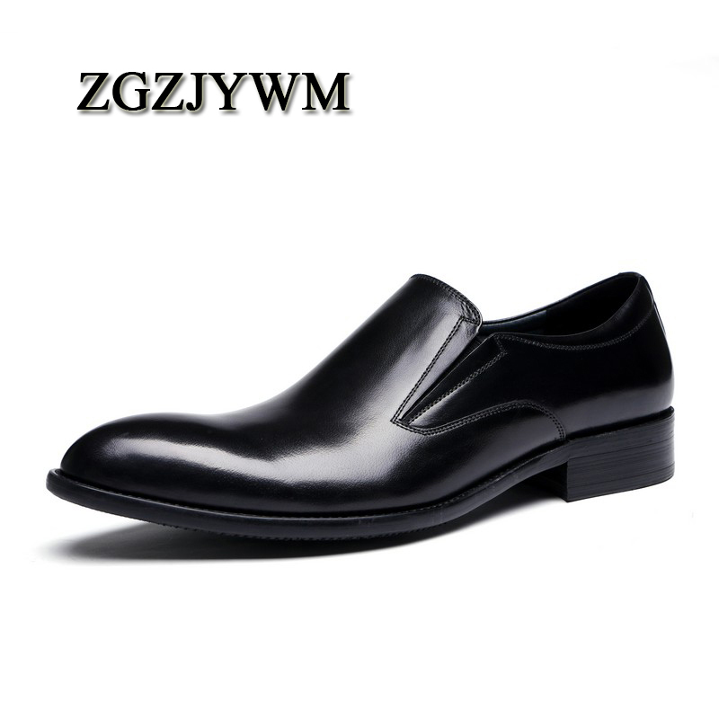 ZGZJYWM New Breathable Black/Brown Loafers Dress Genuine Leather Slip-On Pointed Toe Wedding Casual Business Wedding ShoesZGZJYWM New Breathable Black/Brown Loafers Dress Genuine Leather Slip-On Pointed Toe Wedding Casual Business Wedding Shoes