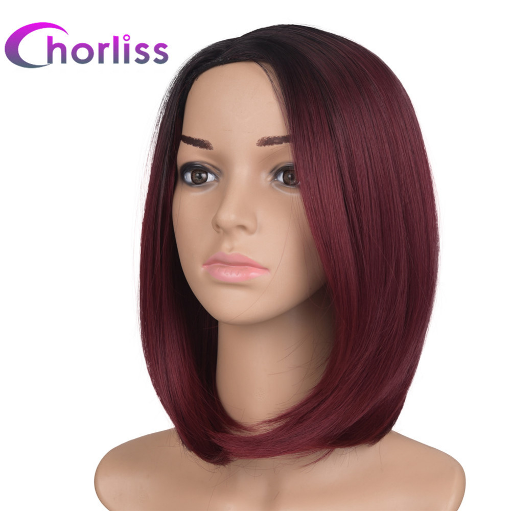Chorliss 10inches Black T Burgundy Ombre Synthetic Wigs