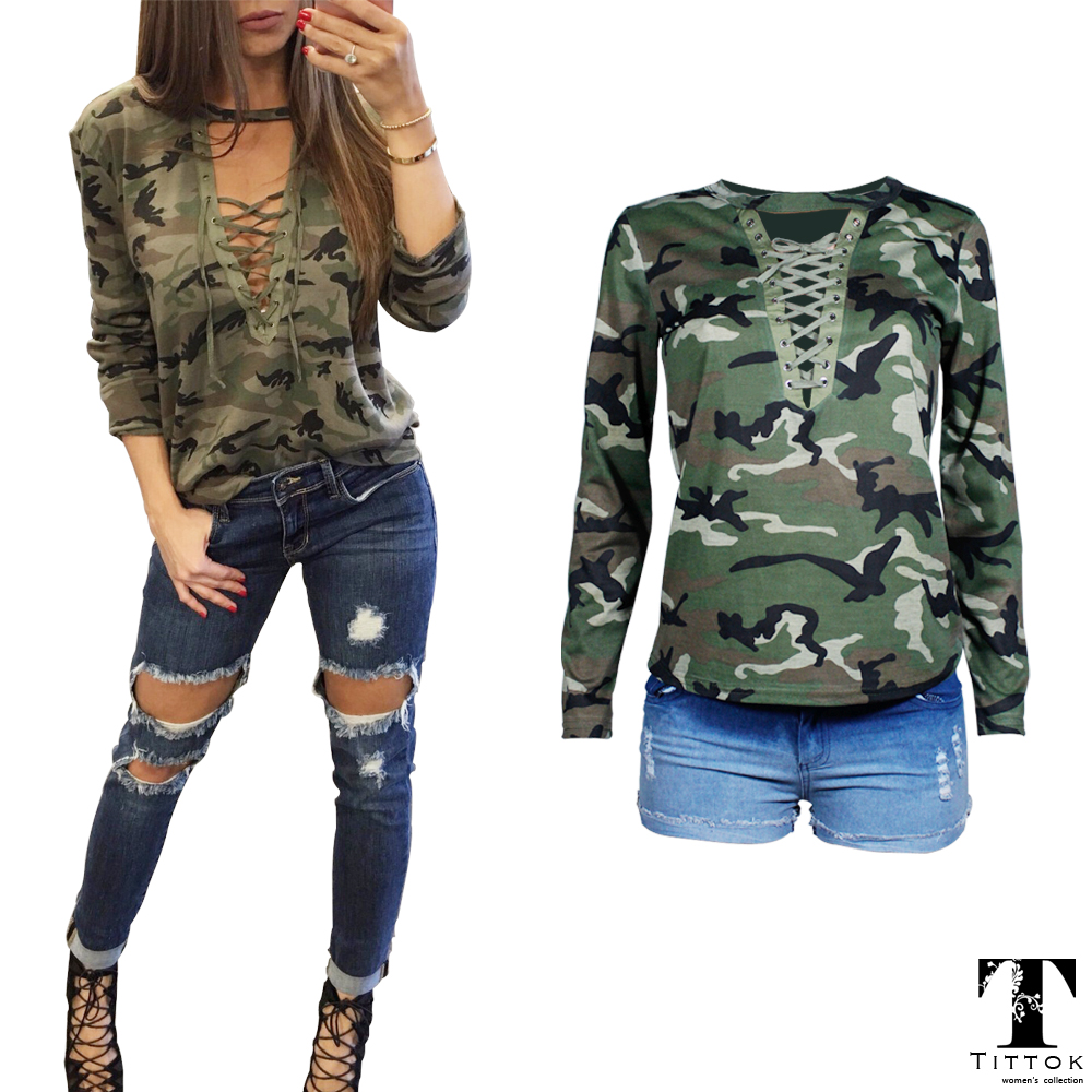 Fashion Spring t shirt women sexy casual military bandage camouflage long sleeve blusa tshirt women tops tee ladies camuflaje