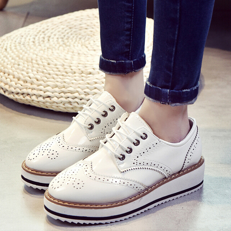 Хи Гранд англии стиль женской обуви мелочь оксфорды резные старинные баллок обувь женщина шнуровке платформы способа creppers xwd4395