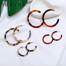 HOCOLE C Shaped Leopard Acrylic Earrings For Women Geometric Circle Round Drop Dangle Korean Style Female Jewelry Gift