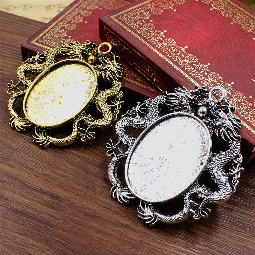 Fit 30x40mm Dragon Oval Pendant Tray Cameo/Glass/Cabochon Frame Bezel Settings Antique Gold Silver 2pcs/lot K05495