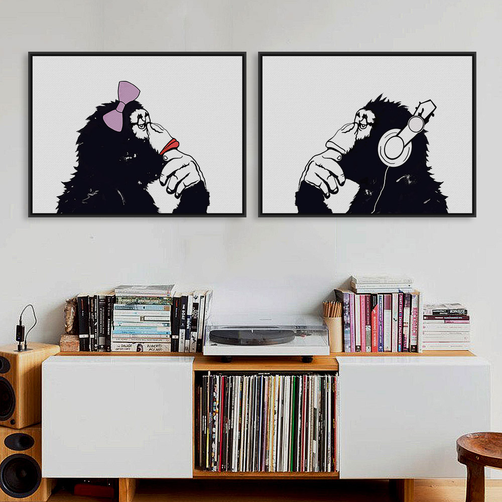 Nordic Black White <font><b>Hippie</b></font> Chimpanzee Gorilla Couple A4 Art Print Poster Funny Wall Picture Canvas Painting No Frame <font><b>Home</b></font> <font><b>Decor</b></font>