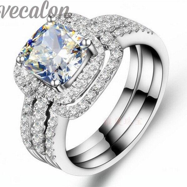 Vecalon Мода кольцо подушка cut 3ct Cz diamond 3-в-1 Обручальные группа Кольца Набор для Женщин 10KT Белое Золото Заполненные Обручальное кольцо