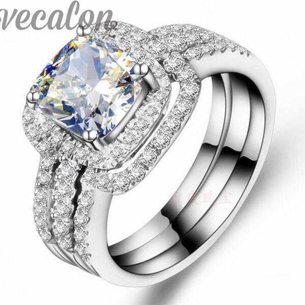 Vecalon Fashion ring cushion cut 3ct Cz diamond 3 in 1 Wedding Band Ring Set for