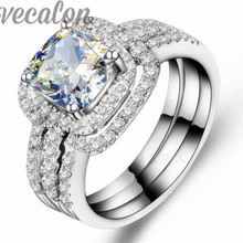 Vecalon cushion cut 3ct anillo de La Moda Cz diamond 3-in-1 Band Set Anillo para Las Mujeres de 10KT Oro Blanco Lleno de Compromiso anillo