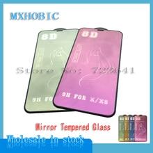 10 protectores de pantalla de espejo 8D, cristal completo para iPhone X XR XS MAX 9H, vidrio templado para iPhone 8 7 6 6S Plus, película protectora