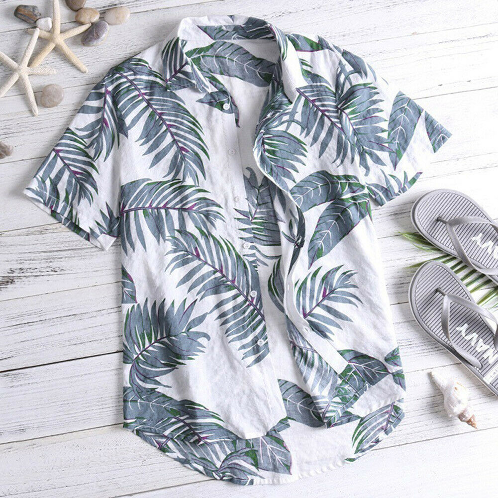 Hawaiian Shirt Mens Summer Floral Print Beach Short Sleeve Casual Luau Shirt Tops Holiday Shirts Tops